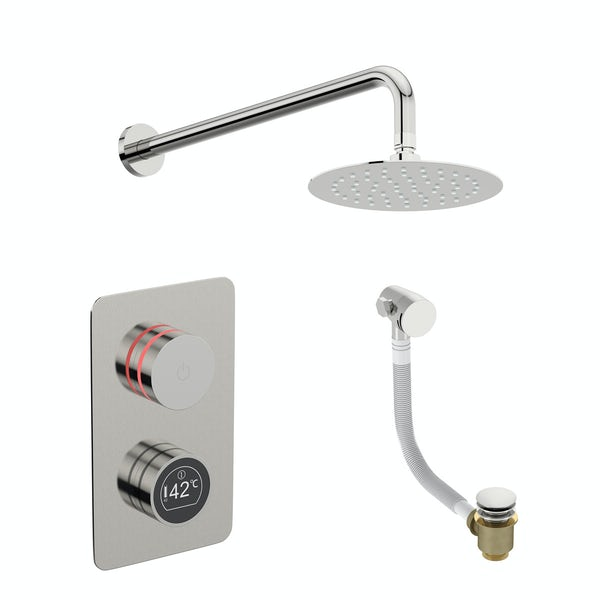 Mode Touch digital thermostatic shower set with round wall arm and bath filler waste