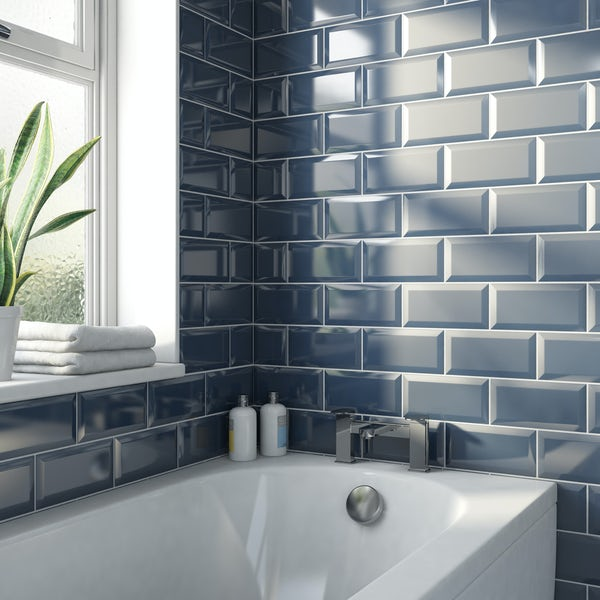Metro midnight blue bevelled gloss wall tile 100mm x 200mm