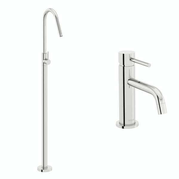 Mode Spencer basin and freestanding bath filler tap pack