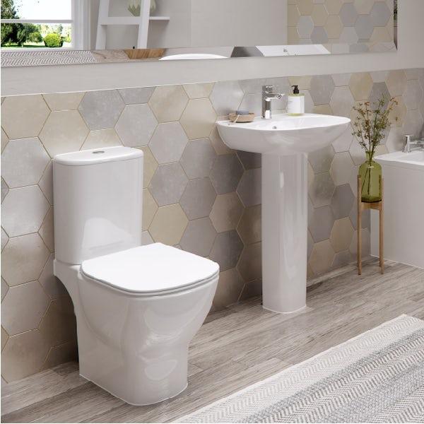 Ideal Standard Tesi cloakroom suite with full pedestal basin 450mm