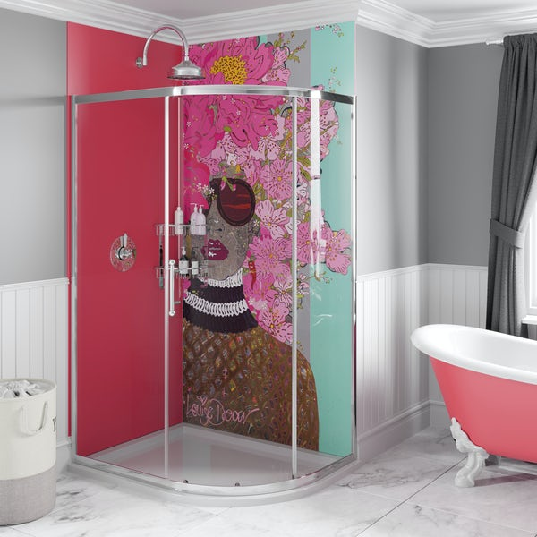 Louise Dear Kiss Kiss Bam Bam Hot Pink acrylic shower wall panel pack with right handed offset quadrant enclosure