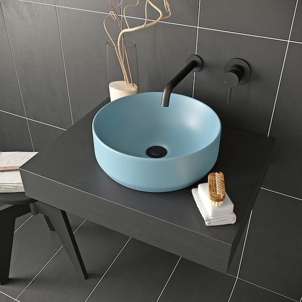 Mode Orion blue coloured countertop basin 355mm