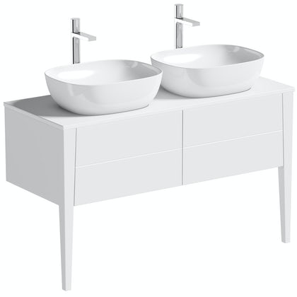 Mode Hale White Gloss Wall Hung Double Vanity Unit With Ceramic