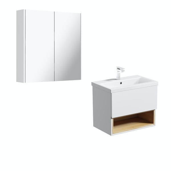 Mode Tate white & oak wall hung vanity unit 600mm with mirror