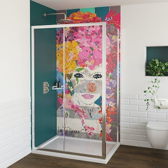 Louise Dear The Serenade acrylic shower wall panel with 1200 x 800mm rectangular enclosure