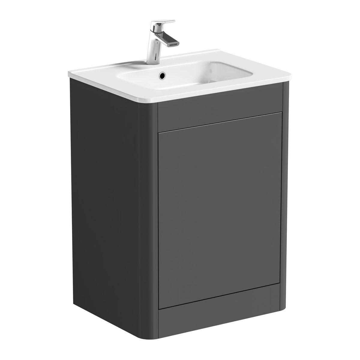Mode Carter slate grey vanity unit and ceramic basin 600mm