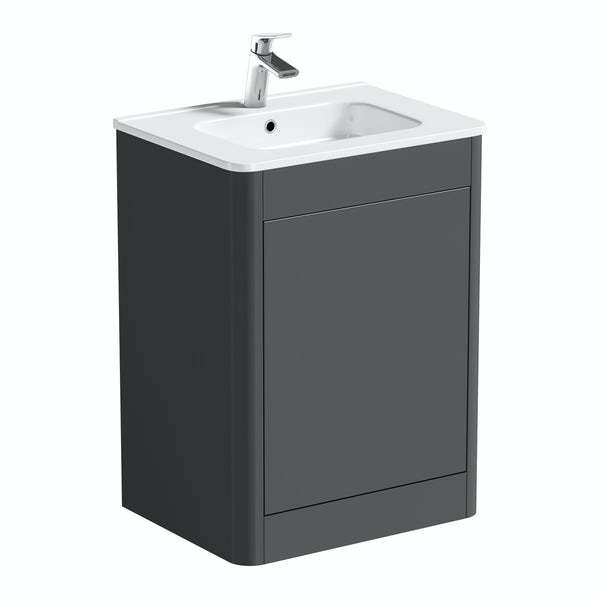 Mode Carter slate gloss grey floorstanding vanity unit and ceramic basin 600mm