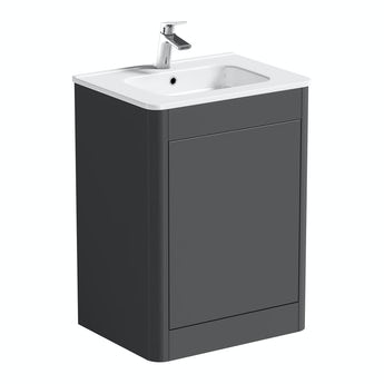 Mode Carter slate gloss grey floorstanding vanity unit and ceramic basin 600mm