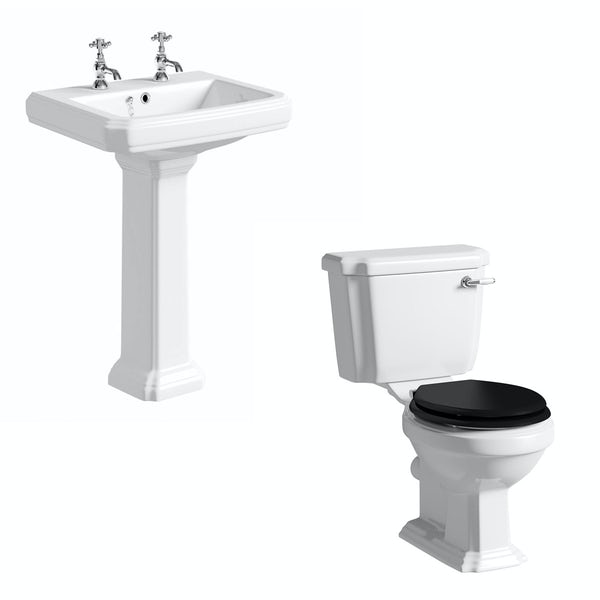 The Bath Co. Dulwich cloakroom suite with black seat and full pedestal basin 585mm