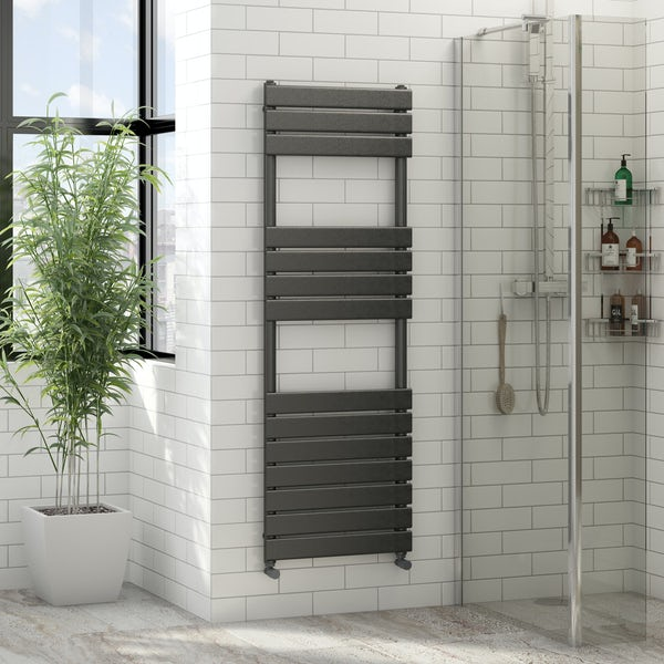 Orchard Wharfe anthracite grey heated towel rail 1500 x 500