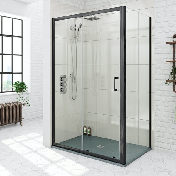 Mode black 6mm sliding shower enclosure with grey slate effect tray 1200 x 800