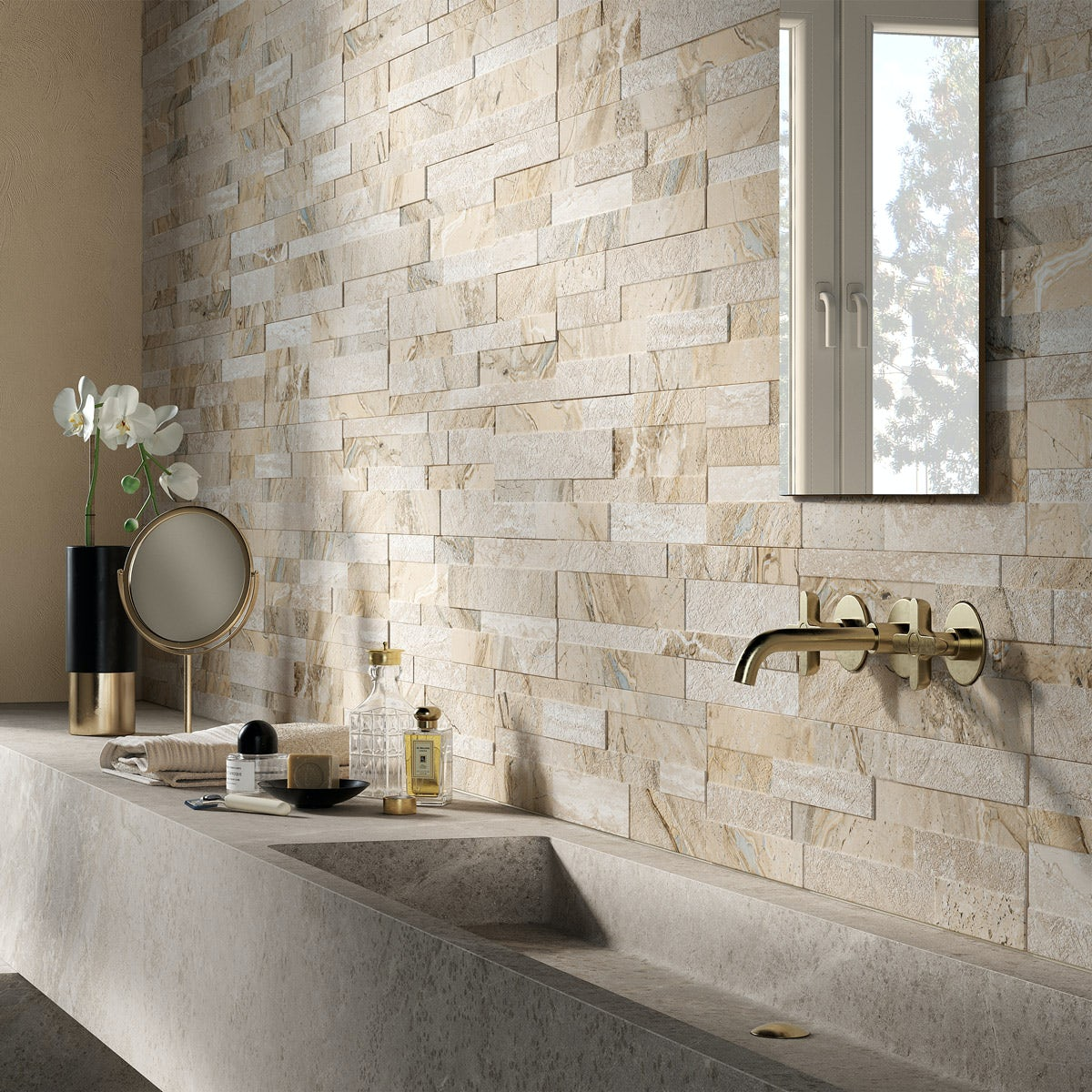 Bolsena Beige Split Face Stone Effect Matt Wall Tile 150mm
