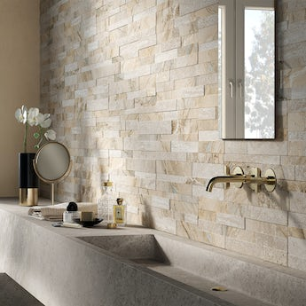 Bolsena beige split face stone effect matt wall tile 150mm x 610mm