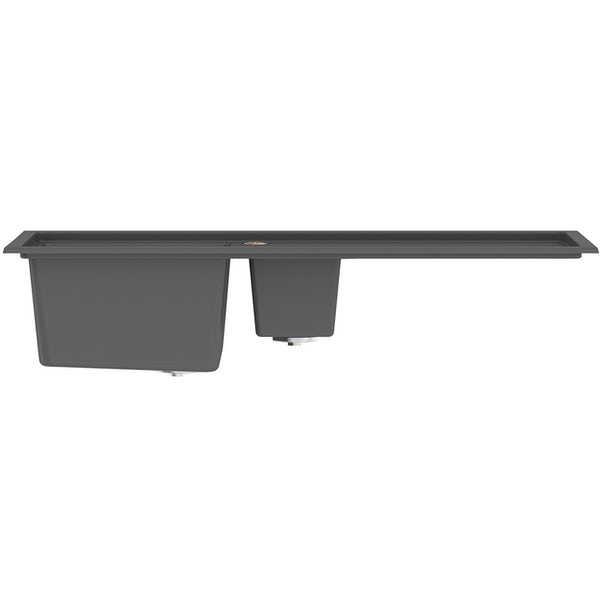 Bristan Gallery quartz right handed midnight grey easyfit 1.5 bowl kitchen sink with Melba black tap