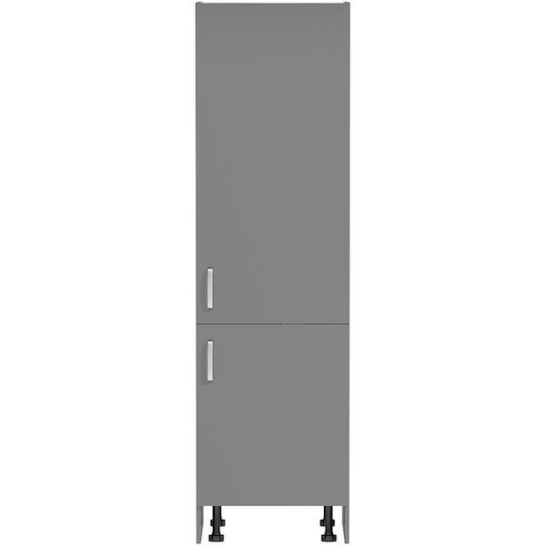 Schon Boston mid grey slab 600mm larder unit