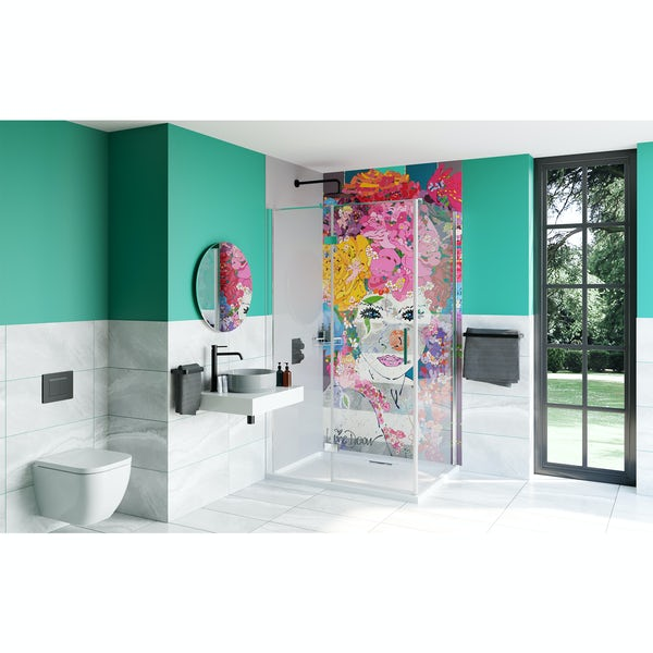 Louise Dear The Serenade Grey bathroom suite with rectangular shower enclosure and tray
