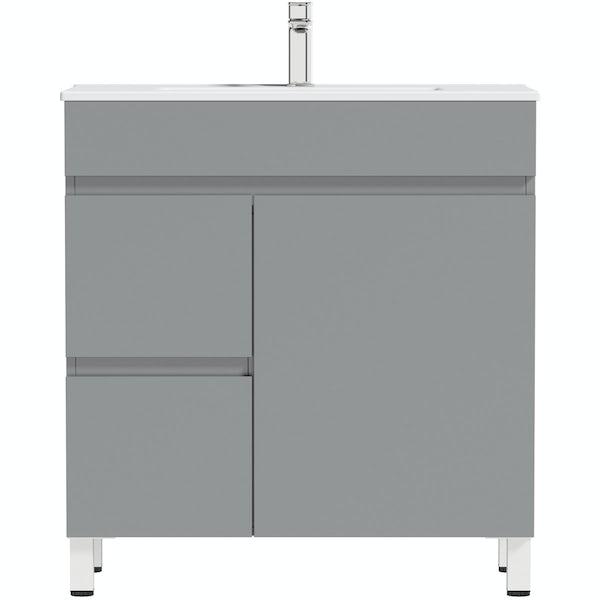 Orchard Thames satin grey floorstanding vanity unit and ceramic basin 760mm