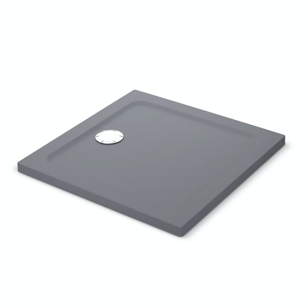 Mira Flight Safe low level anti-slip square shower tray in Anthracite grey