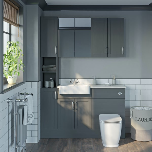 The Bath Co. Newbury dusk grey tall fitted furniture & storage combination with white worktop
