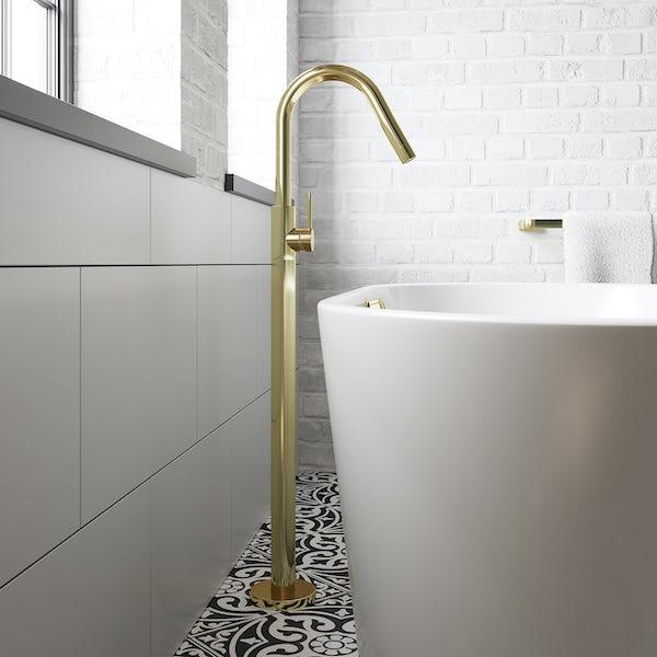 Mode Spencer gold freestanding side lever bath filler tap