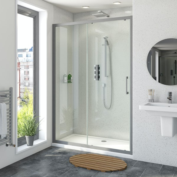 Mode 8mm matt grey framed sliding shower door 1200mm
