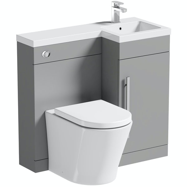 Orchard MySpace grey right handed combination with contemporary back to wall toilet and seat