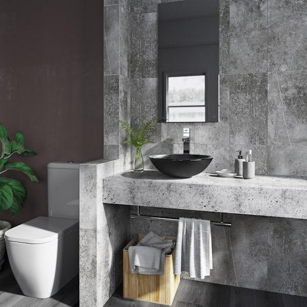 Mode Mackintosh painted black glass countertop basin 420mm
