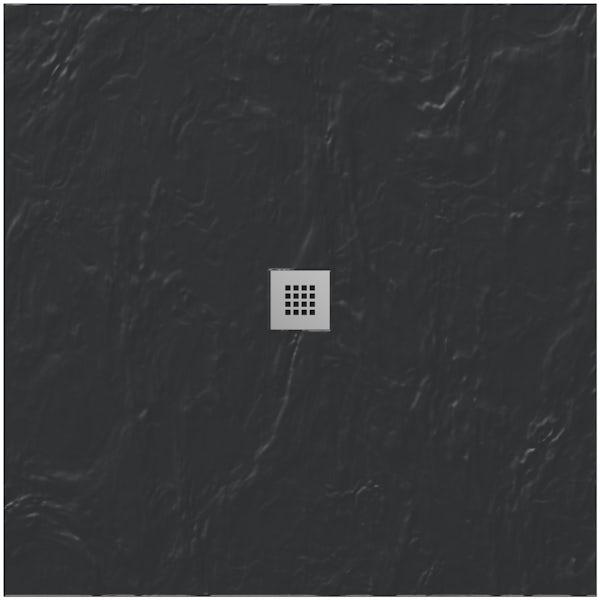 Mode black slate effect square stone shower tray 900 x 900
