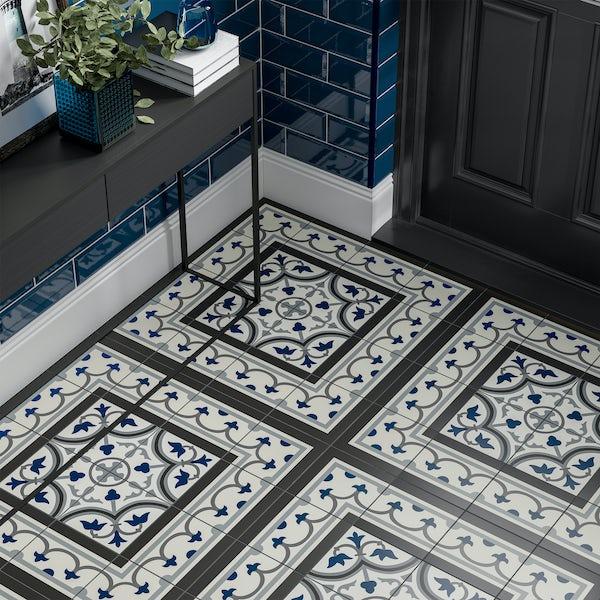 Girona corner blue traditional matt wall and floor tile 200mm x 200mm