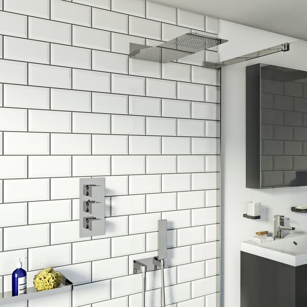 Mode Ando thermostatic mixer shower with handset and wall shower head