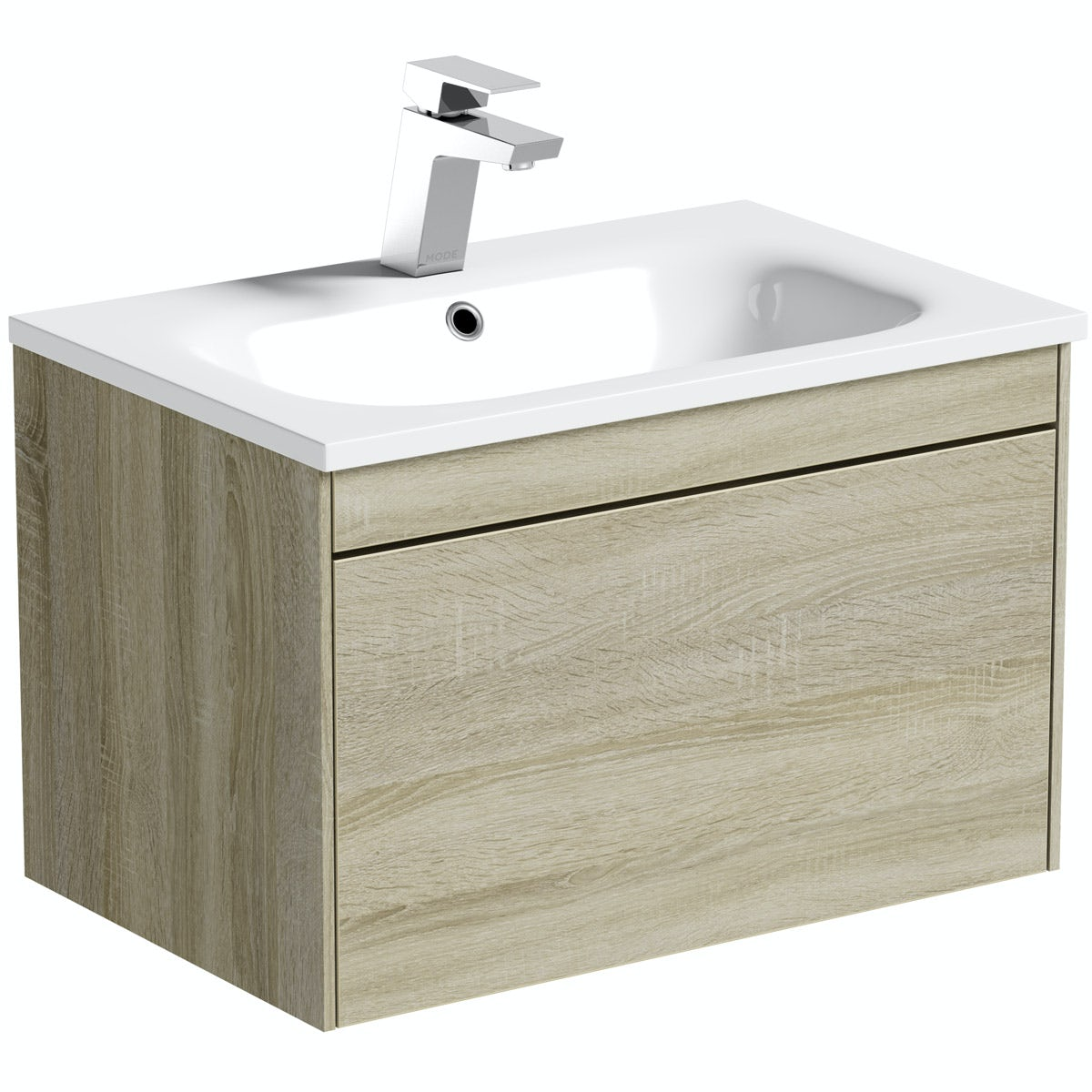 Mode Austin Oak Wall Hung Vanity Unit And Stone Basin