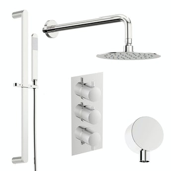 Mode Banks thermostatic shower valve with slider rail and wall shower set