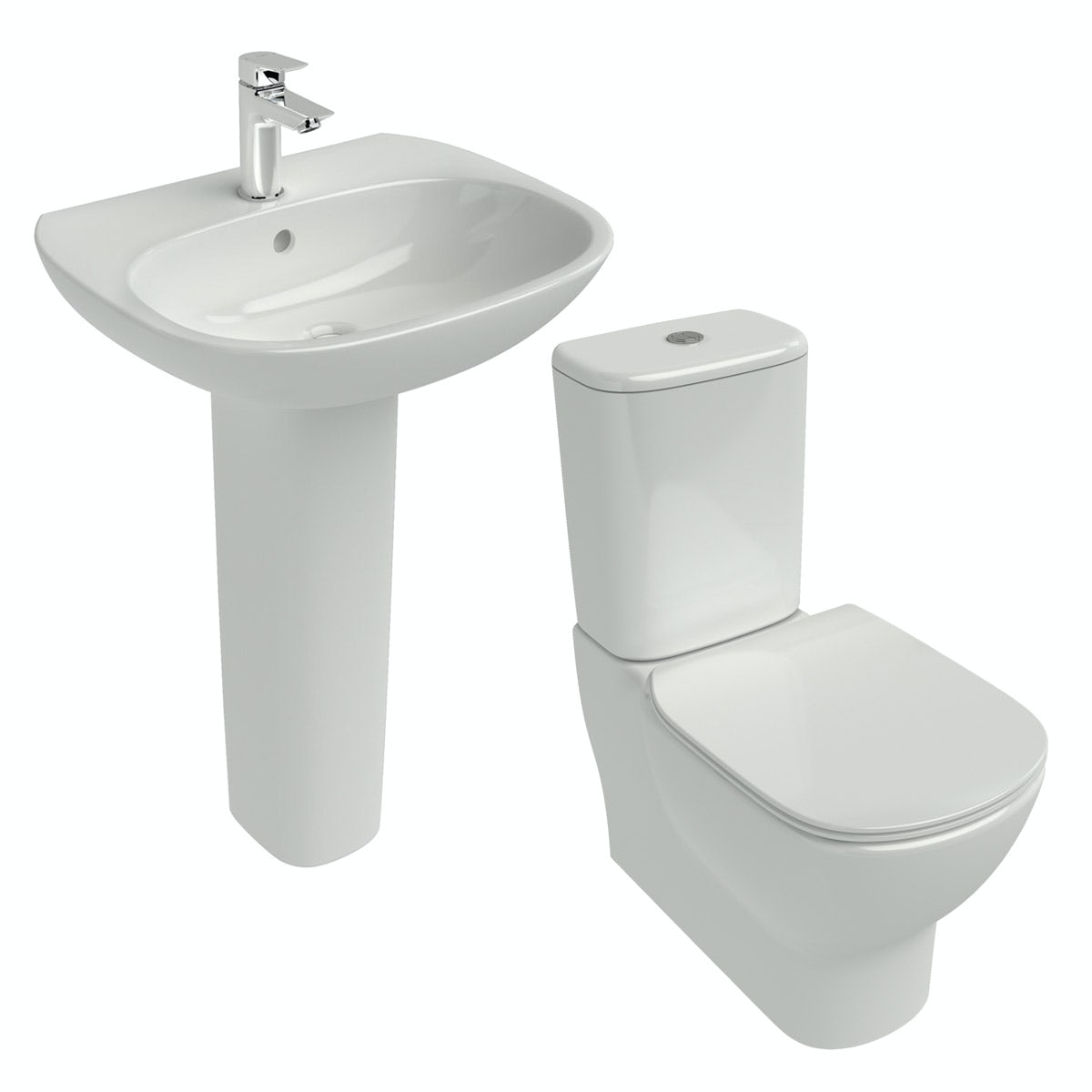 Ideal standard tesi cloakroom suite with full pedestal for Diagonal ideal standard