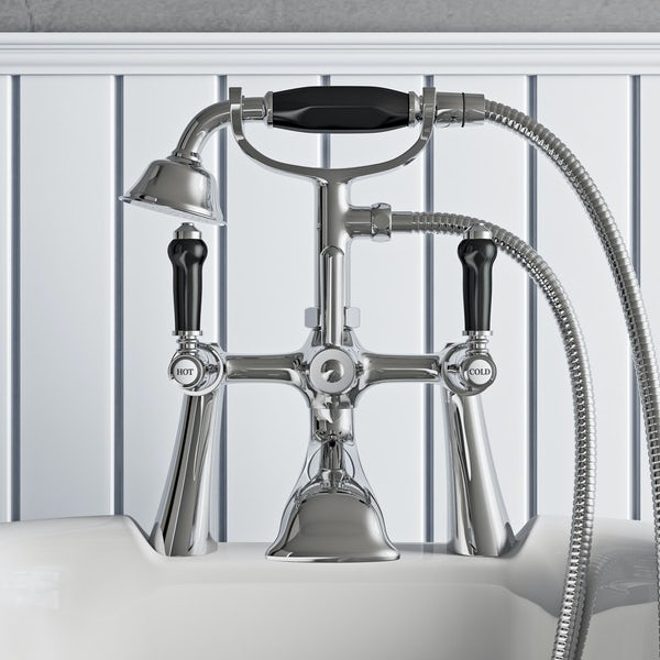 The Bath Co. Winchester bath shower mixer tap with black lever handle