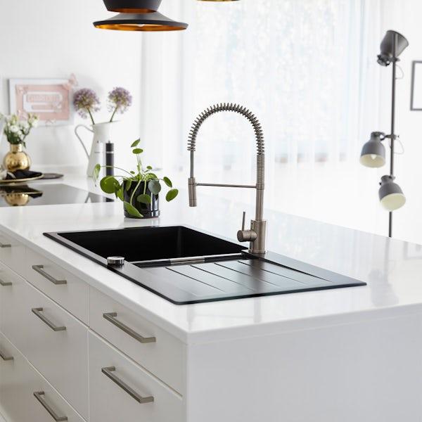 Rangemaster Schock Signus 1.5 bowl granite reversible magma metallic black kitchen sink