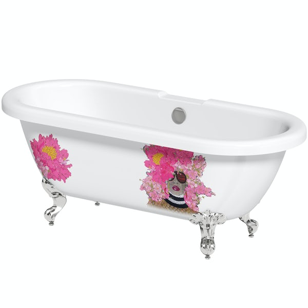 Louise Dear Kiss Kiss Bam Bam roll top freestanding bath with chrome claw feet