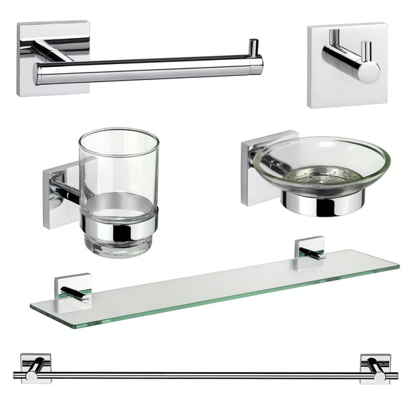 Croydex Chester square master bathroom 6 piece accessory set