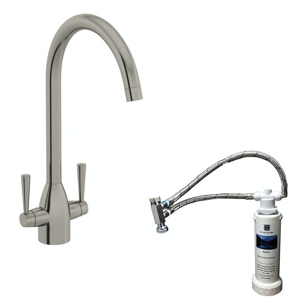 Schön brushed nickel kitchen tap with complete filter kit