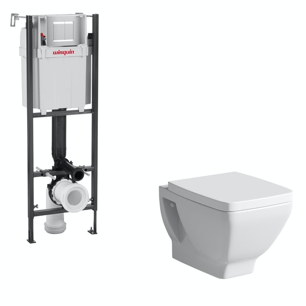 Mode Cooper wall hung toilet and wall mounting frame with push plate cistern