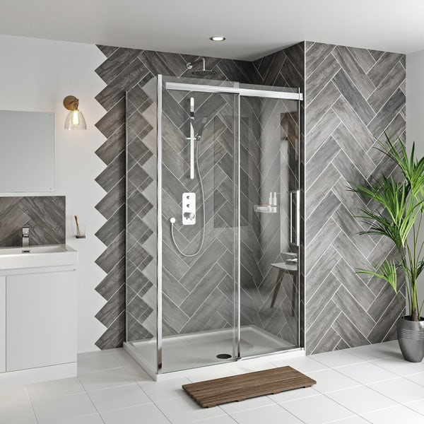 Mode Foster stainless steel sliding shower enclosure 1200 x 800