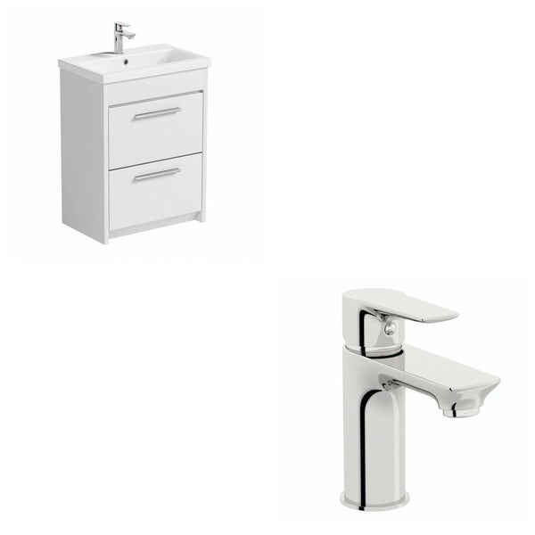 Smart White Floor Standing 600 Vanity Unit & Basin with Free Tap
