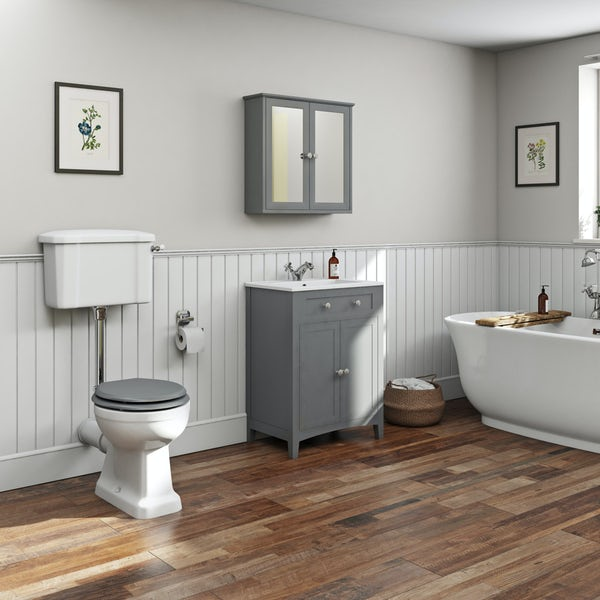 The Bath Co. Camberley satin grey vanity unit 600mm with traditional basin mixer
