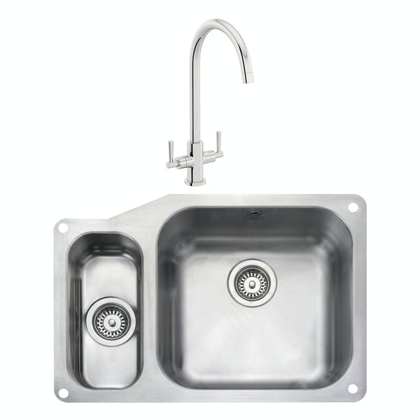 Rangemaster Atlantic Classic 1.5 bowl undermount left handed kitchen sink with waste and Schon C spout WRAS kitchen tap