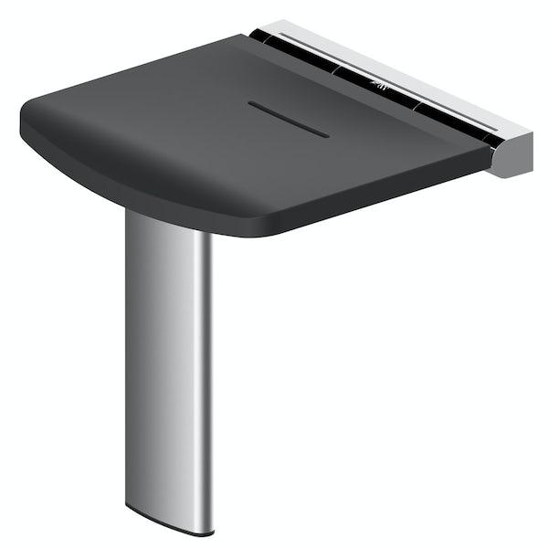 AKW Onyx fold up shower seat black