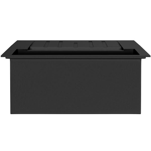 Rangemaster Andesite 1.5 bowl granite kitchen sink with waste and Schon traditional kitchen tap