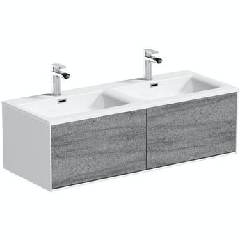 Mode Burton white & grey ice stone wall hung double vanity unit and basin 1200mm