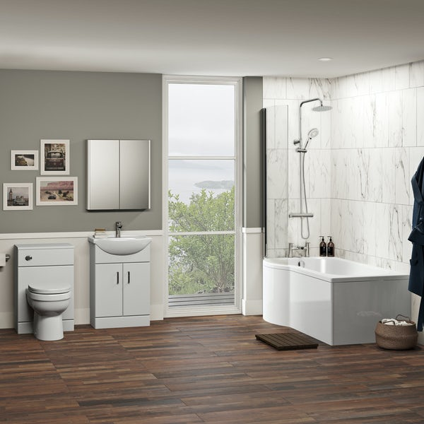Orchard Eden contemporary complete left handed shower bath suite with taps, shower and wastes