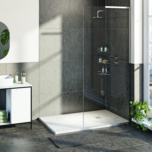 Mode 8mm walk in right handed shower enclosure bundle with white slate effect shower tray