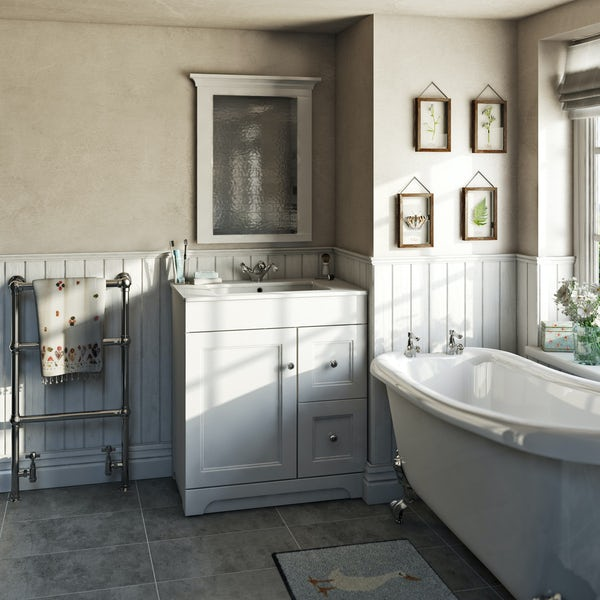 The Bath Co. Winchester white vanity unit and basin 800mm with mirror