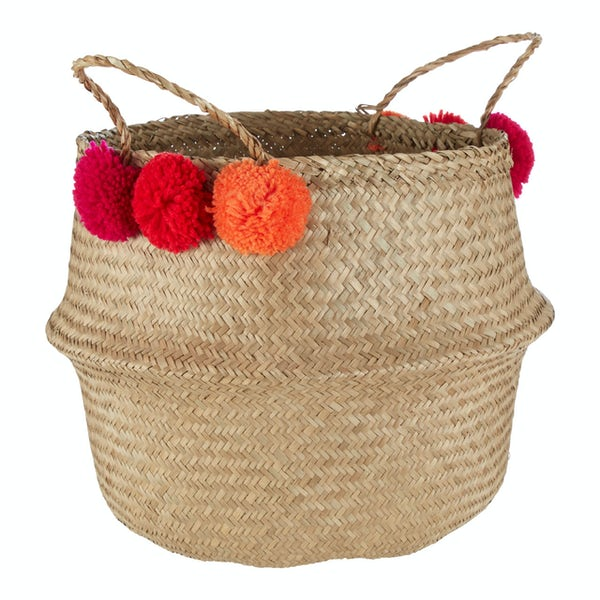 Large natural pom pom seagrass basket